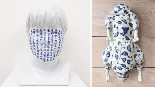 Traditional Chinese Characters and Motifs Cover Ming Lu's Porcelain Busts and Ducks