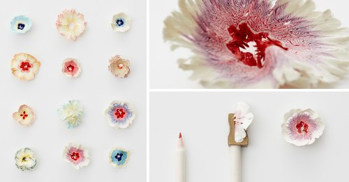 Tiny Paper Flowers Inspired by Pencil Shavings by Haruka Misawa