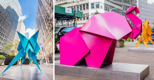 Seven Origami Animals Transform New York City's Garment District into a Vibrant Menagerie