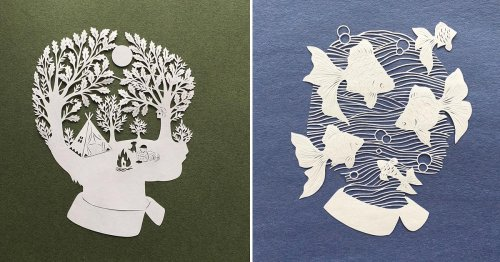 Moonlit Forests, Fish, and Branches Populate Kirie Silhouettes Cut from a Single Sheet of Paper