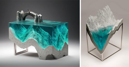 Lustrous Seas of Layered Glass Are Sliced into Cross-Sections in Ben Young's Sculptures