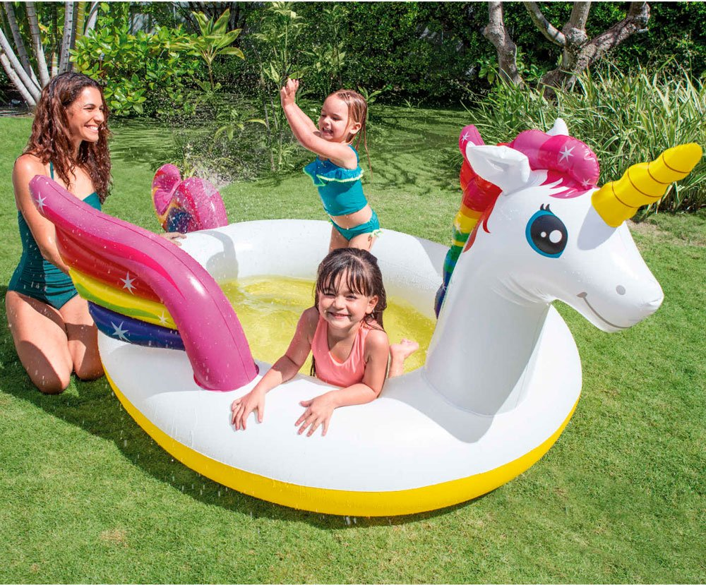 Aldi unicorn pool with spray is cool summer must-have for little ones