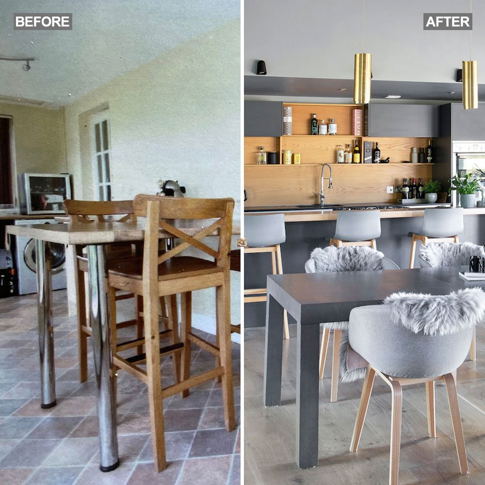 Before and after: Run down cottage with a small, pokey kitchen is transformed by a contemporary extension