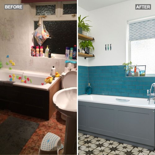Before and after: this owner used her new-found love of colour to transform a bathroom