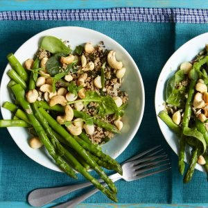 Vegan Quinoa Salad With Asparagus And Toasted Nuts