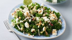 Kale and apple salad with peanut butter dressing