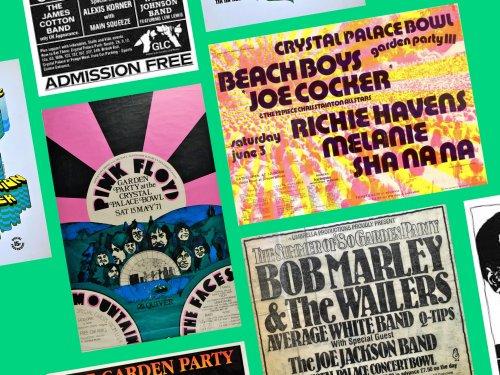 Bob Marley! Pink Floyd! Check out vintage Crystal Palace Bowl art