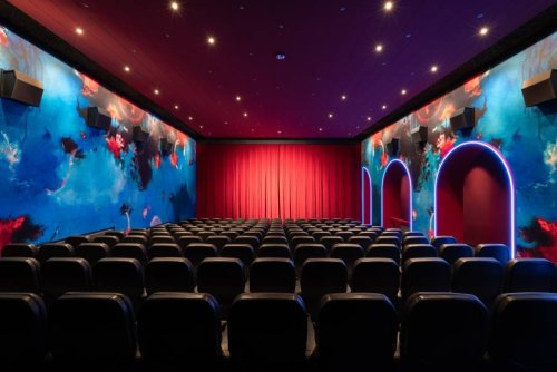 This beautiful new-look cinema looks like the inside of a lava lamp