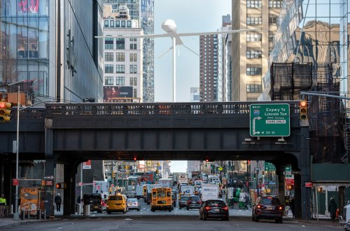 A giant drone being installed on the High Line will hover over 30th St until August 2022