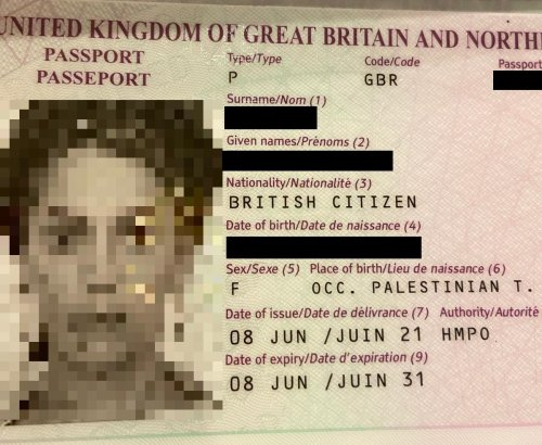 Israeli's new UK passport lists birthplace as 'Occupied Palestinian Territories'