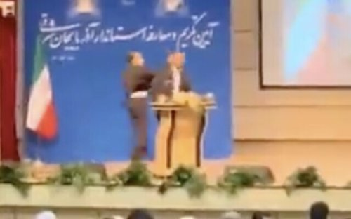 Iranian provincial governor slapped at inauguration in rare security breach