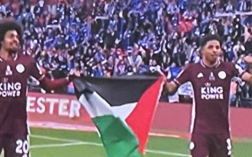 Leicester City soccer players raise Palestinian flag after UK cup victory