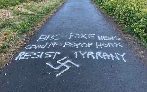 Swastika daubed in Tyneside being removed