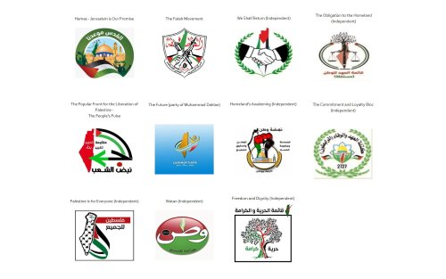 Party logos of 11 Palestinian political lists feature maps erasing Israel