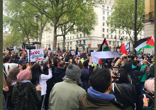 Corbyn tells rally that escalation 'all because of the occupation of Palestine'