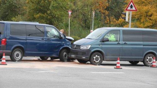 Unfall mit mehreren Polizeiautos in Gera