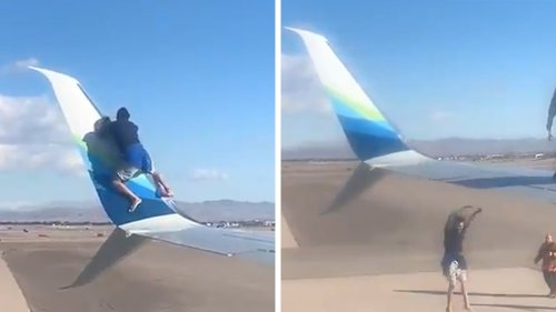 Las Vegas' McCarran Airport Man Scales Airplane Wing Falls Off Hard, Instantly Arrested