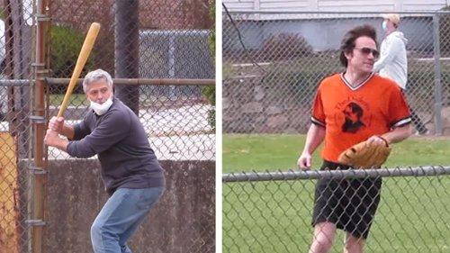 George Clooney & Ben Affleck Batter Up!!! Playin' Ball on Set