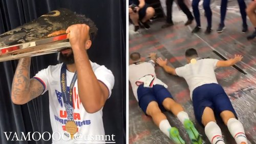 U.S. Men's Soccer Team Boozy Locker Room Slip 'N Slide!!! To Celebrate Gold Cup Win