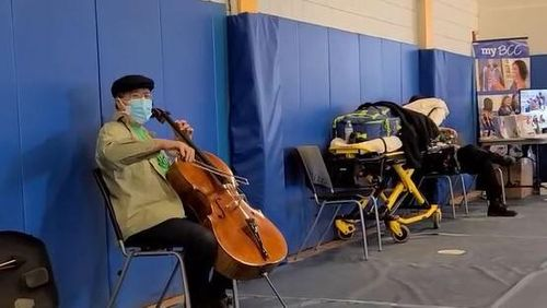 After receiving second dose, Yo-Yo Ma transforms waiting period into performance at Pittsfield vax clinic