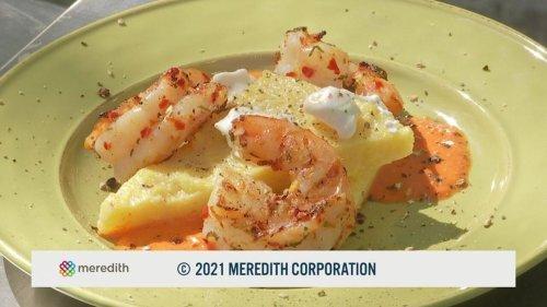 Grilled Rosemary Garlic Shrimp w/ Polenta Cake