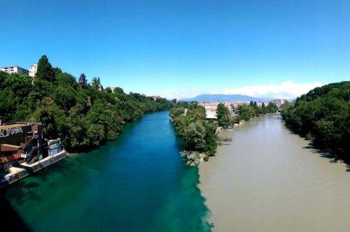 Spektakuläres Naturschauspiel zweier Flüsse in Genf