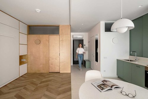 Minimalist Studio Apartment Renovation Includes a 'Room Within a Room'
