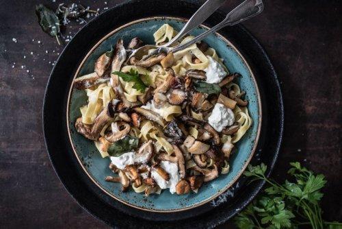 Köstliche Pilzpasta mit Weißwein Sahnesauce, Burrata und frittiertem Salbei