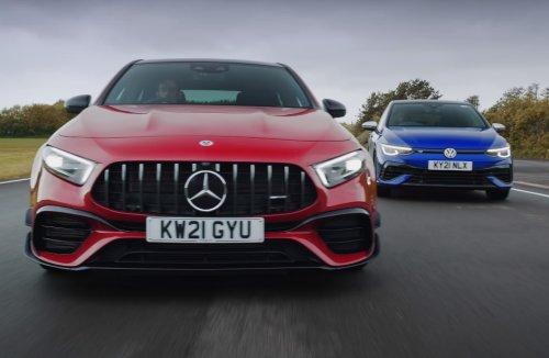 VIDÉO - La Mercedes-AMG A45 s et la Volkswagen Golf R s'engagent dans une bataille de drift