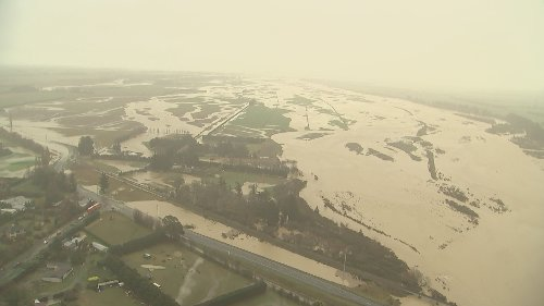 Aerial footage shows widespread extent of Canterbury flooding