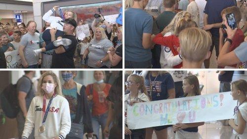 Dozens Gathered At Phoenix Airport To Welcome Olympian MyKayla Skinner Home | iHeartRadio