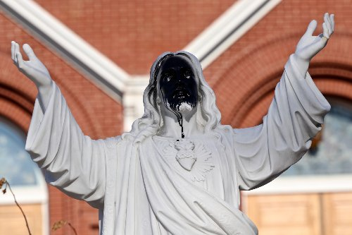Vandals spray paint Jesus statue outside Fargo cathedral