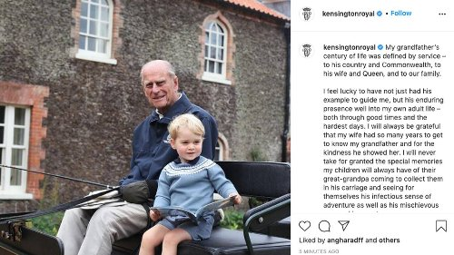 Breaking: Prince William Posts Emotional Tribute To His Grandfather The Duke Of Edinburgh