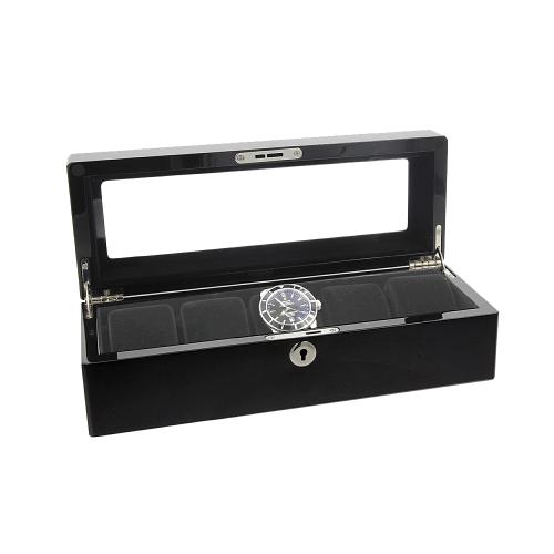 AUGUSTA Uhrenbox Holz Uhrenkoffer schwarz für 5 Uhren