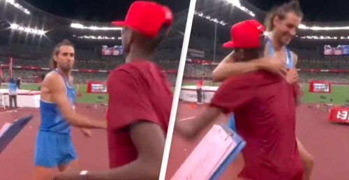 Athletes Share The Men's High Jump Gold Medal And People Can't Get Enough Of It