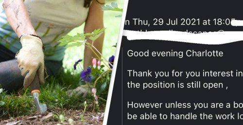 Woman Slaps Down Belittling Response To Her Landscaping Job Application