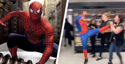 Horror As 'Spider-Man' Attacks Staff In Shop