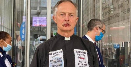Priest Sews Lips Together To Protest Rupert Murdoch Climate Change Ignorance