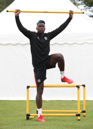 Photo: Paul Pogba pictured back in Manchester United training