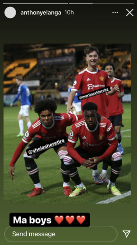 Anthony Elanga posts on Instagram after he scores and is sent off for United under-23s