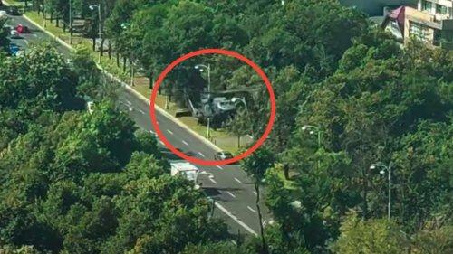 U.S. Blackhawk Helicopter Makes Emergency Street Landing In Bucharest, Romania