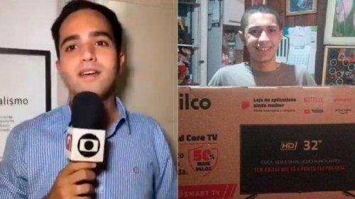 Jornalista compra televisão smart para fã que tirava selfies com repórteres em TV de tubo
