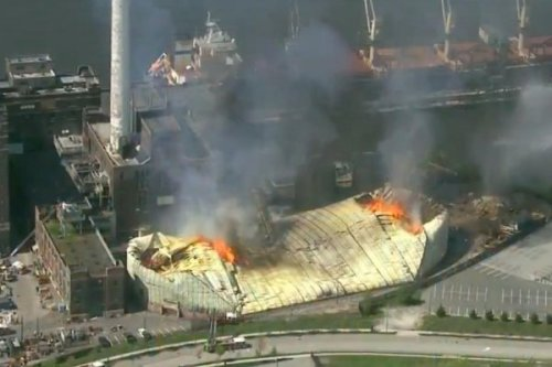 Domino Sugar storage shed in Baltimore collapses in 3-alarm fire