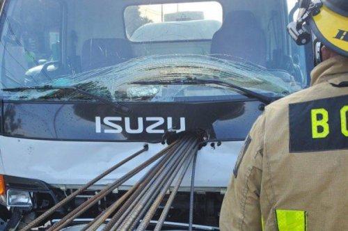 Rebar impales truck in Florida, driver uninjured