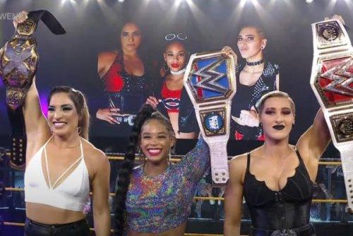 WWE NXT: Raquel González, Bianca Belair, Rhea Ripley celebrate