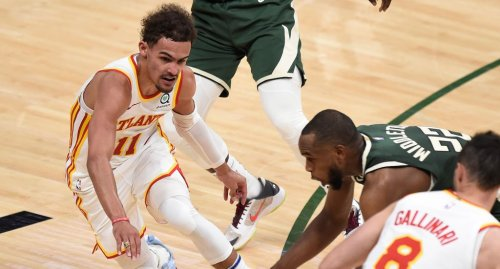 LeBron Lost It At Trae Young's Off-Glass Lob And Shimmy Three-Pointer