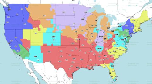 NFL Week 4 TV coverage maps