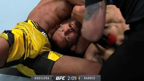 Video: Carlston Harris puts Christian Aguilera to sleep with anaconda choke, makes history