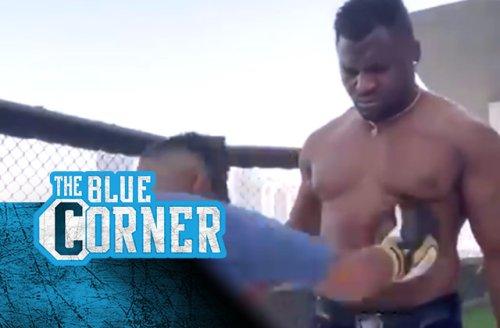 Watch social media influencer 'Money Kicks' fail to faze Francis Ngannou in body shot challenge