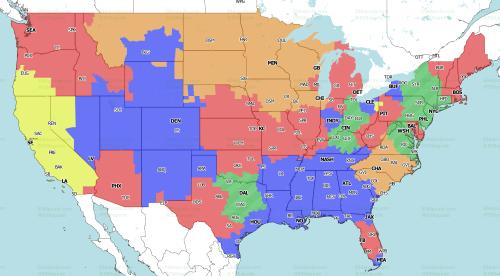 NFL Week 12 TV coverage maps